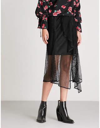 Mo&Co. Asymmetric ruffled mesh skirt