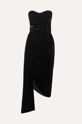 Rasario Strapless Asymmetric Draped Velvet Dress - Black