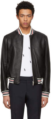 Thom Browne Black Leather Varsity Jacket