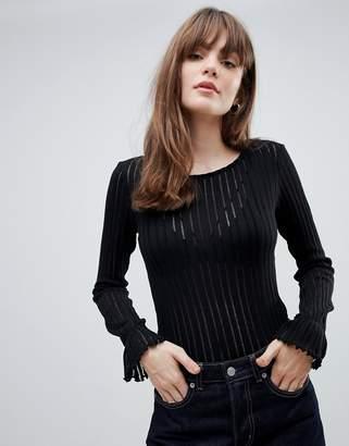 Pieces Kaylee ribbed sheer long sleeved top