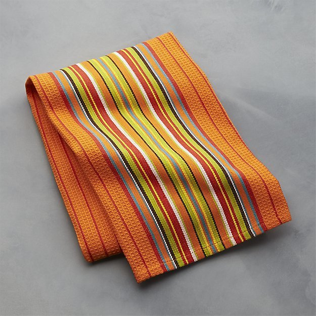 Crate & Barrel Salsa Dos Orange Dish Towel