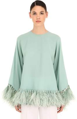 Valentino Silk Georgette Top W/ Feathers