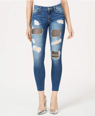 GUESS Sexy Curve Ripped Embellished Skinny Jeans
