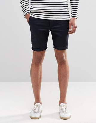 Asos DESIGN Super Skinny Chino Shorts In Navy