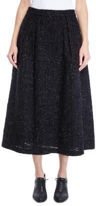 Co Metallic-Tweed Full Bell Tea-Length Skirt