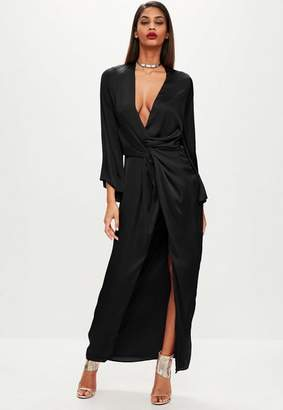Missguided Black satin plunge kimono maxi dress