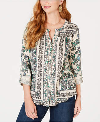 Style&Co. Style & Co Printed Split-Neck Top