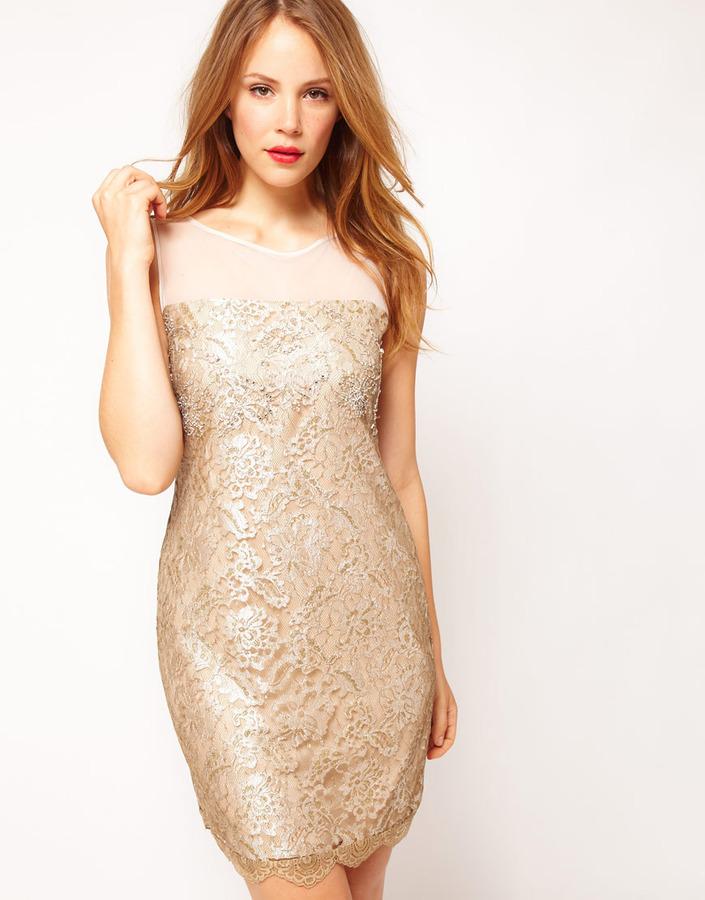 Coast Duanna Lace Dress in Gold