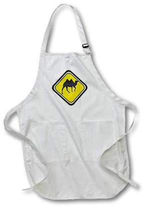 3dRose Caution Camel Crossing, Full Length Apron, 22 by 30-inch, Black, With Pockets