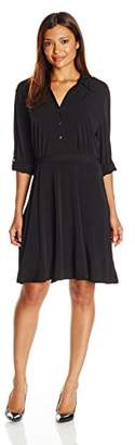NY Collection Women's Petite Size Long Sleeve Solid Point Collar Dress,PM