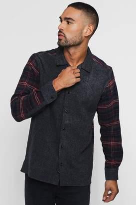 boohoo Contrast Check Long Sleeve Revere Shirt