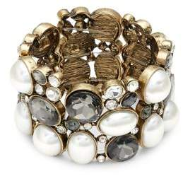 Stein And Blye Goldtone, Champagne Faux Pearl & Crystal Bracelet