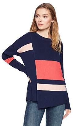 Cable Stitch Women's Uneven Hem Striped Sweater