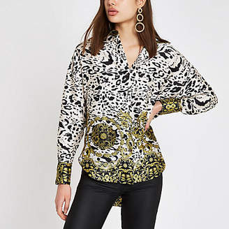 River Island White leopard print long sleeve blouse