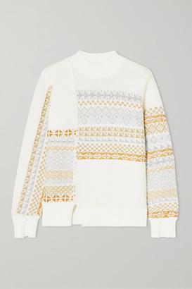 3.1 Phillip Lim Asymmetric Patchwork Metallic Fair Isle Wool-blend Sweater - Cream