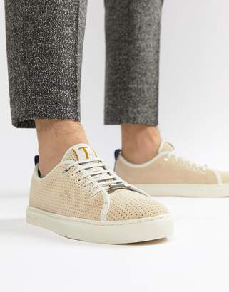 Ted Baker Kaliix Mesh Suede Trainers In Beige