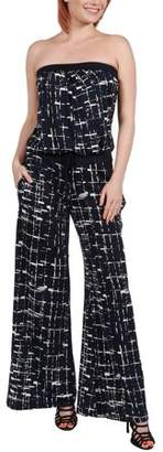 24/7 Comfort Apparel 24Seven Comfort Apparel Women's Bryce Black and White Strapless Jumpsuit