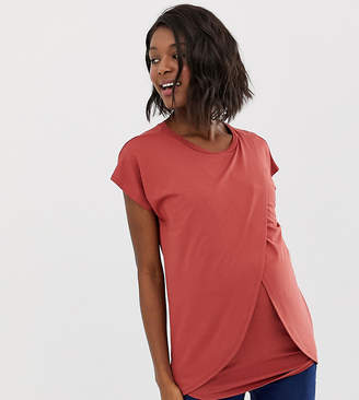 Asos Nursing DESIGN Maternity nursing t-shirt with wrap overlay