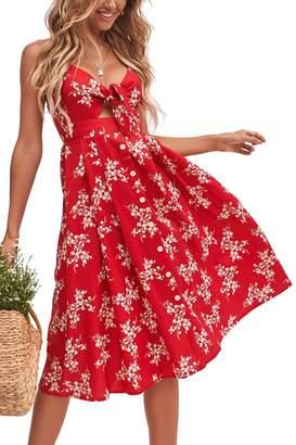 Dolce & Gabbana Walant Womens Summer Spaghetti Strap Dress Tie Front V-Neck Swing Midi Dress(L, Y)