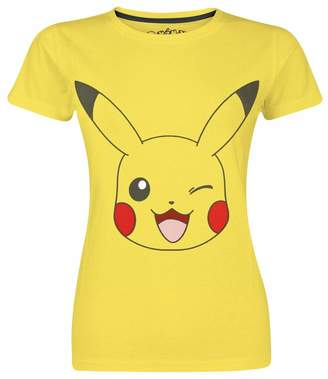 Pokemon T Shirt Winking Pikachu new Official Womens Skinny Fit Yellow