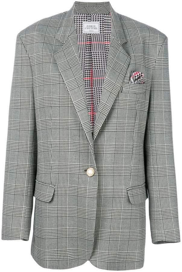 Forte Couture checked button blazer