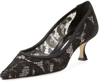 Manolo Blahnik Srila Lace Kitten-Heel Pumps