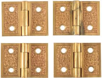 Rejuvenation Set of 4 Ornate Cast Brass Shutter Hinges