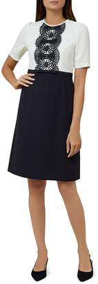 Hobbs London Ardelia Color-Block Lace-Trim Dress