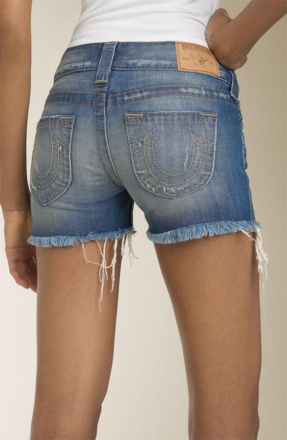 True Religion Brand Jeans 'Bobby' Cutoff Rigid Denim Shorts (Medium Zuma)