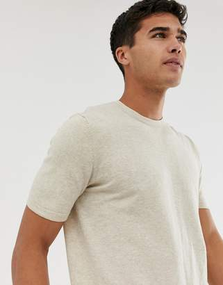 Asos DESIGN Knitted T-Shirt In Oatmeal