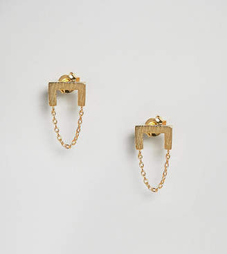 Asos Gold Plated Sterling Silver Brushed Square Chain Drop Earrings