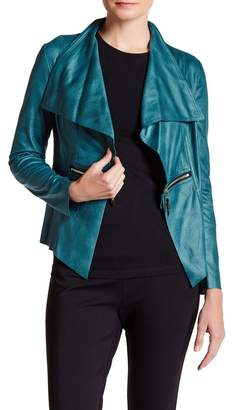 Insight Faux Leather Shawl Collar Jacket
