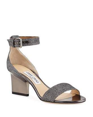 Jimmy Choo Edina Metallic Fabric Sandals, Gray