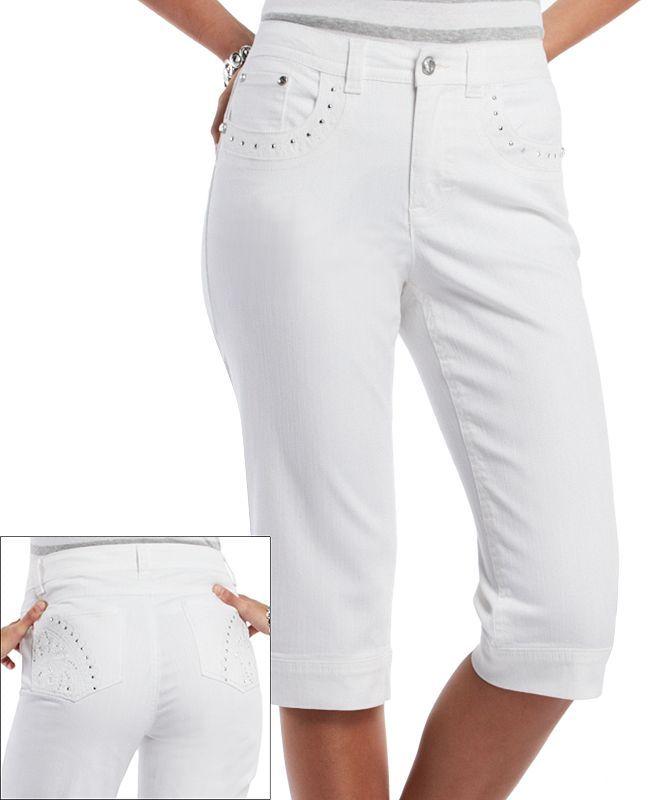 Gloria Vanderbilt addie embellished denim skimmer pants - petite