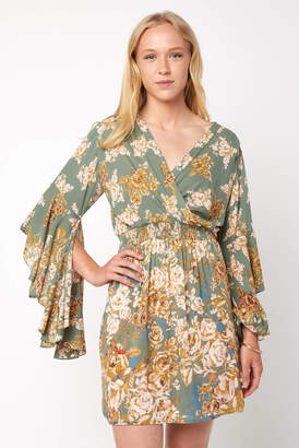 Juniper Blu Long Sleeve Surplice Floral Dress