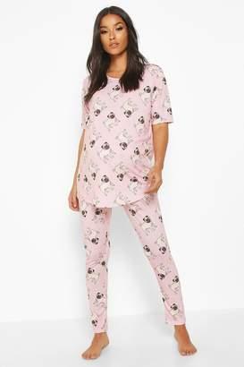 boohoo Maternity Pug Short Sleeve PJ Set