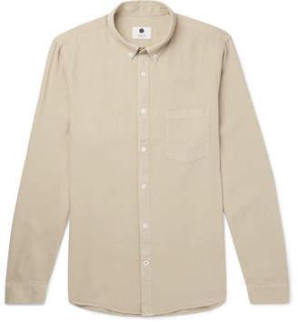 NN07 Sixten Button-Down Collar Lyocell And Linen-Blend Shirt