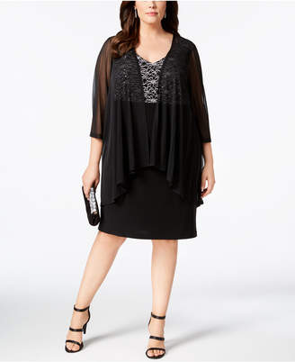 Connected Plus Size Lace & Sheer Jacket Dress