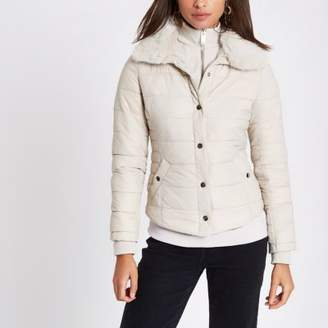 River Island Cream padded faux fur collar jacket