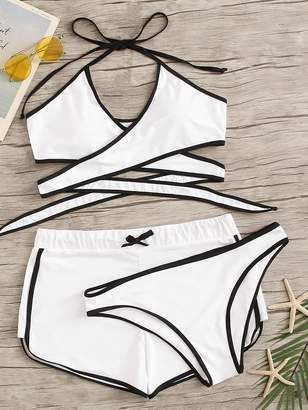 Shein Plus Contrast Binding 3 Piece Co-ord Bikini Set