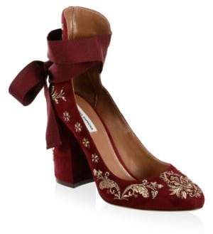 b40c736bb53 Tabitha Simmons Isabel Embroidered Suede Ankle-Wrap Pumps