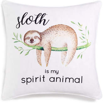 "Lacourte Sloth is My Spirit Animal 20"" Square Graphic-Print Decorative Pillow, Created for Macy's"