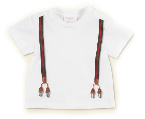 Gucci Baby Boy White Suspender Tee