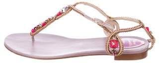 Rene Caovilla Strass T-Strap Sandals