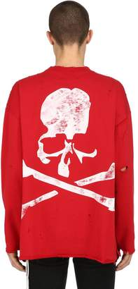 Faded Print Distressed Cotton Sweatshirt