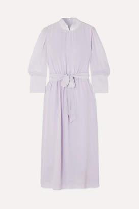 Simone Rocha Belted Silk Crepe De Chine Midi Dress - Lilac