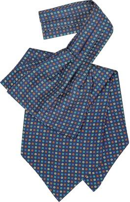 Forzieri Multicolor Floral Print Silk Ascot
