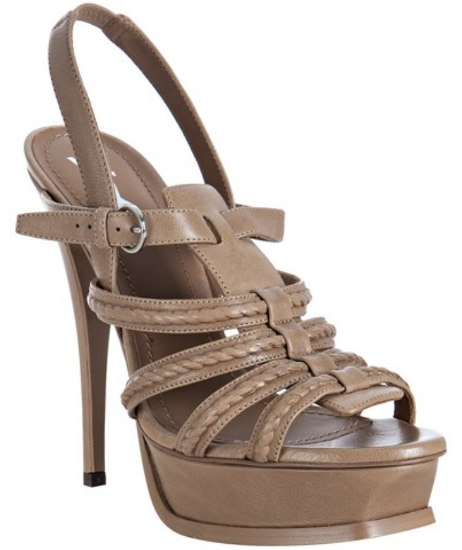 Yves Saint Laurent almond leather 'Hamptons' platform sandals
