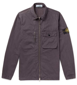 Stone Island Logo-Appliqued Garment-Dyed Cotton Overshirt