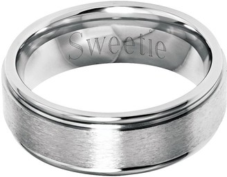 Steel By Design Stainless Steel 8mm Grooved Edge Brushed Engravable Ring